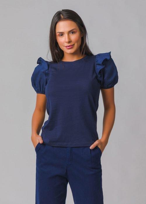 T-shirt Babado - Marinho - Blank Basics